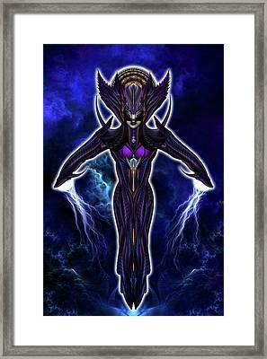 Taidushan Empress Chinsisha Warrior Goddess Fractal Portrait Framed Print by Xzendor7