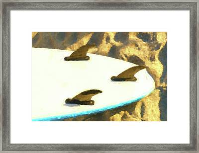 Tail Surfboard Watercolor Framed Print