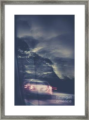 Tailing Car Trails Framed Print