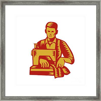 Tailor Sewing Machine Woodcut Framed Print by Aloysius Patrimonio