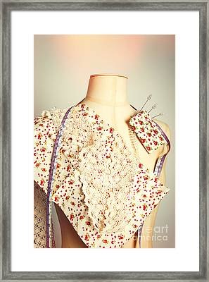 Tailors Dummy With Colour Swatches Framed Print by Amanda Elwell