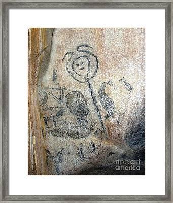 Taino Spirit Of The Sun - Prehistoric Caribbean Taino Indian Cave Painting Framed Print