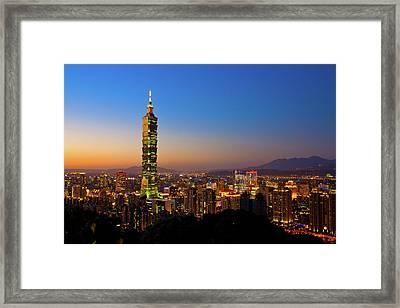 Taipei 101 At Dusk Framed Print