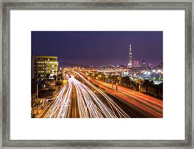 Taipei Light Trails At Night Framed Print by © copyright 2011 Sharleen Chao