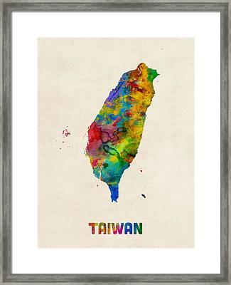Taiwan Watercolor Map Framed Print by Michael Tompsett