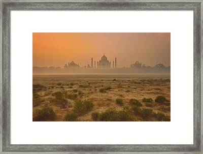 Taj Mahal At Dusk Framed Print by Vichaya