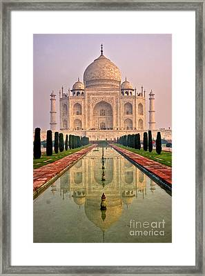 Taj Mahal At Sunrise Framed Print