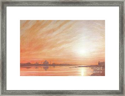 Taj Mahal At Sunset  Framed Print