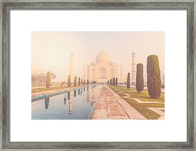 Taj Mahal In Agra India With Instagram Style Filter Framed Print