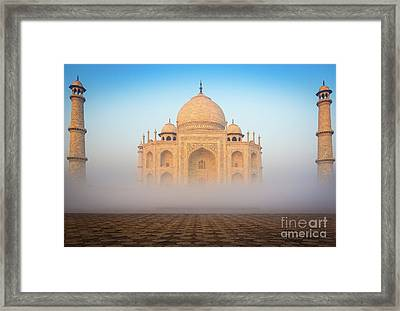 Taj Mahal In The Mist Framed Print