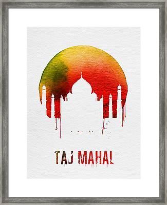 Taj Mahal Landmark Red Framed Print by Naxart Studio