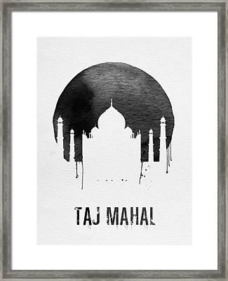 Taj Mahal Landmark White Framed Print by Naxart Studio