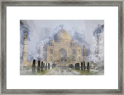 Taj Mahal Digital Watercolor On Photograph Framed Print by Brandon Bourdages