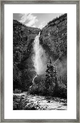 Takakkaw Falls British Columbia Bw Framed Print