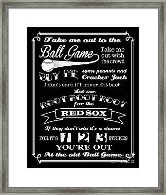 Take Me Out To The Ball Game - Red Sox Framed Print