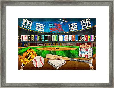 Take Me Out To The Ballgame Recycled Vintage License Plate Art Collage Framed Print