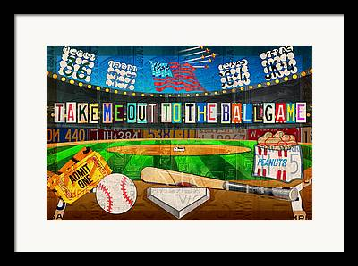 New York Baseball Parks Mixed Media Framed Prints