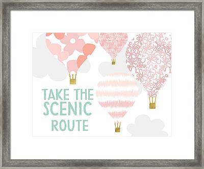 Take The Scenic Route Pink- Art By Linda Woods Framed Print