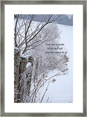 Take Time To Ponder  Framed Print by Cathy  Beharriell