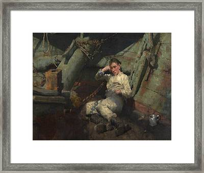 Framed Print featuring the painting Taking A Spell  by Henry Scott Tuke