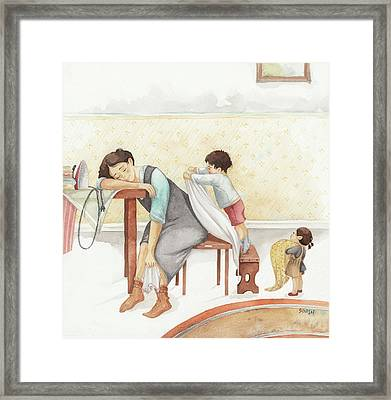 Taking Care Of Mom Framed Print
