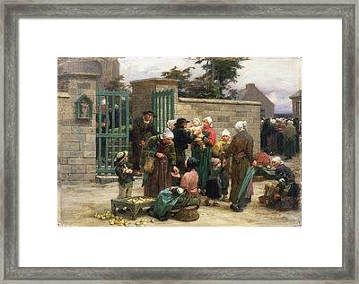Taking In Foundlings Framed Print by Leon Augustin Lhermitte