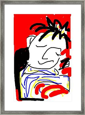 Framed Print featuring the greeting card Taking Nap by Rae Chichilnitsky