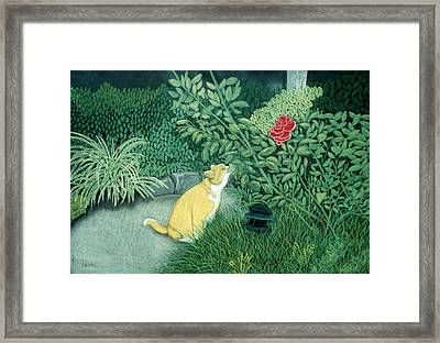 Framed Print featuring the pastel Taking Time To Smell The Roses by Jan Amiss