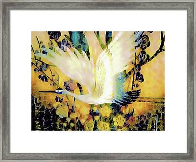 Taking Wing Above The Garden - Kimono Series Framed Print