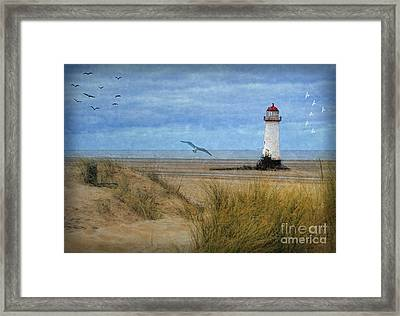 Framed Print featuring the digital art Talacre Lighthouse - Wales by Lianne Schneider