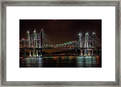 Tale Of 2 Bridges At Night Framed Print