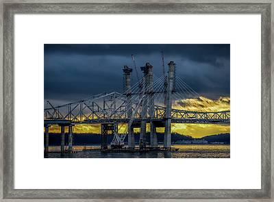Tale Of 2 Bridges At Sunset Framed Print