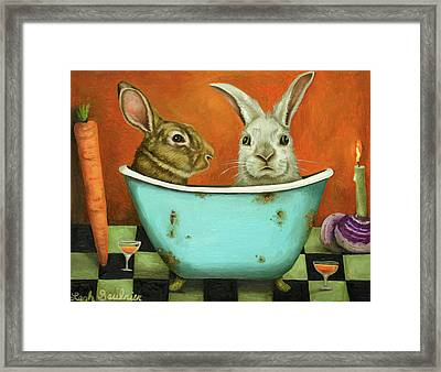 Tale Of Two Bunnies Framed Print by Leah Saulnier The Painting Maniac