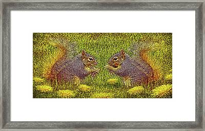 Tale Of Two Squirrels Framed Print