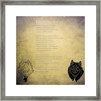 Tale Of Two Wolves - Art Of Stories Framed Print by Celestial Images