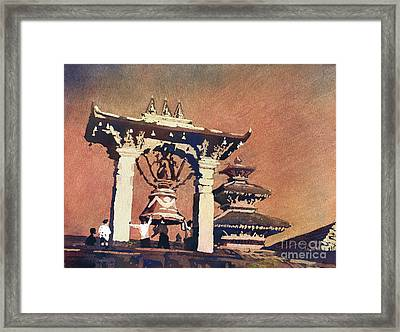 Framed Print featuring the painting Taleju Bell- Patan, Nepal by Ryan Fox