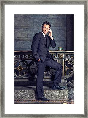 Talking On Phone Framed Print