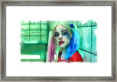 Talking To Harley Quinn  - Aquarell Style -  - Da Framed Print by Leonardo Digenio