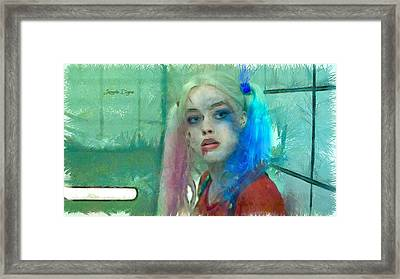 Talking To Harley Quinn  - Pencil Style -  - Da Framed Print by Leonardo Digenio