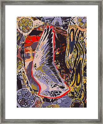 Tall Bird Wing With Border  Framed Print by F Burton