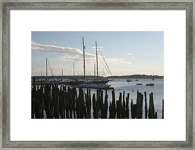 Tall Ship At Dock Framed Print by Dennis Curry