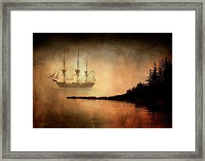 Tall Ship In The Fog Framed Print