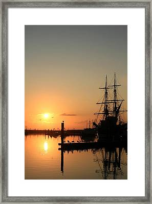 Tall Ship Lady Washington At Dawn Framed Print by Mike Coverdale