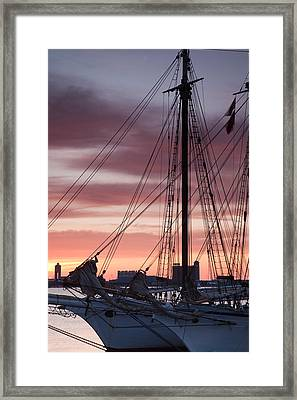 Tall Ship Moored At A Harbor, Sail Framed Print