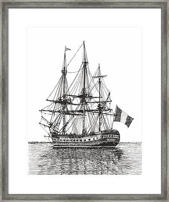 Tall Ship L'hermione On The York River Framed Print
