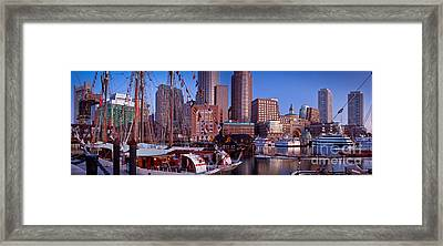 Tall Ship Panorama Framed Print by Susan Cole Kelly
