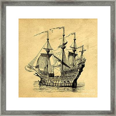 Tall Ship Vintage Framed Print by Edward Fielding