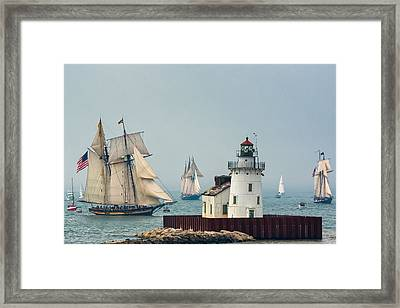 Tall Ships At Cleveland Lighthouse Framed Print
