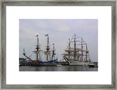 Historic Tall Ships Hermione And Sagres Framed Print