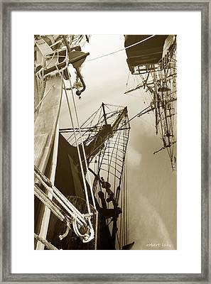 Tall Ships Reflected Framed Print by Robert Lacy